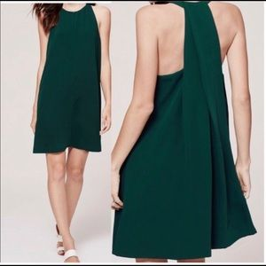 Loft emerald green trapeze dress